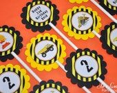 12 Construction Birthday Cupcake Toppers - Construction Birthday Decorations - Dump Truck Party