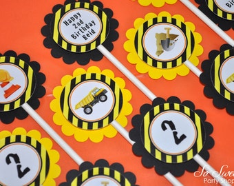 Construction Birthday Cupcake Toppers, Boys 1st Birthday, Construction Birthday Decorations, Dump Truck Party - Set of 12