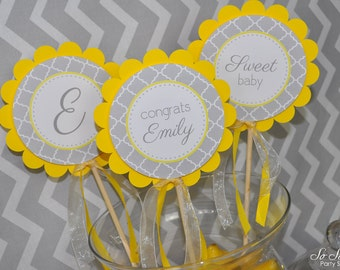 3 Baby Shower Centerpiece Sticks - Gray and Yellow - Boy or Girl Baby Shower Decorations - Gender Neutral Shower