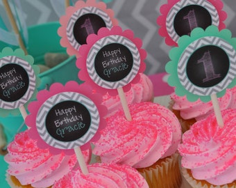 1st Birthday Cupcake Toppers - Girls 1st Birthday Decorations - Chalkboard with Gray Chevron - Pink & Mint Green - Set of 12