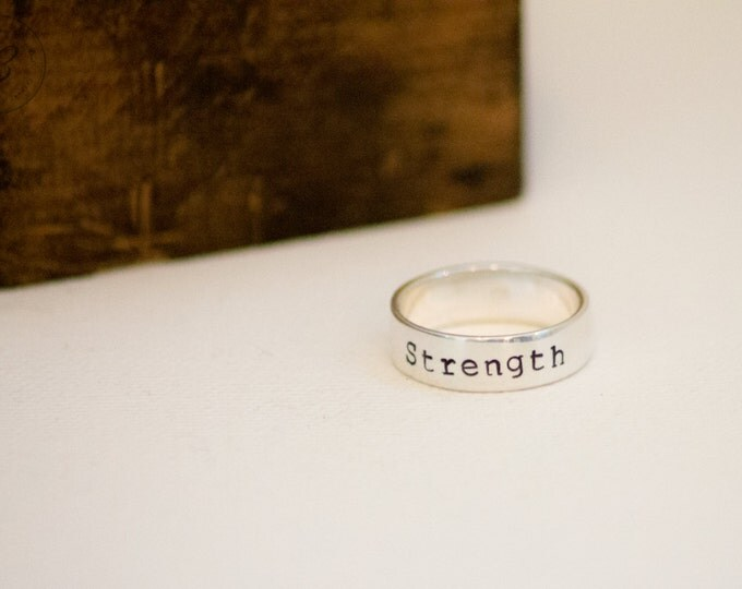 Word of the Year - Strength Ring - Sterling SIlver  - Hand Stamped - Personalized