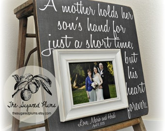 Mother of the Groom Gift, Mother of the Groom Picture Frame, A Mother Holds Her Son's Hand, 16x16 The Sugared Plums Frames