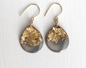 charcoal and gold glitter drop earrings on gold filled earwires - large size