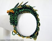 Green and Gold Chainmaille Dragon Bracelet
