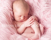 Extra Large faux fur, newborn photo prop, mongolian faux fur,pink faux fur, fur fabric