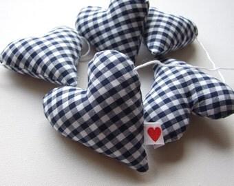 Heart Garland Navy Blue Gingham Hangs Horizontally