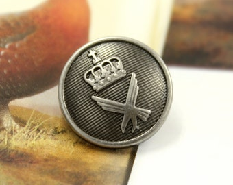 Metal Buttons - Crown and Eagle Metal Buttons , Nickel Silver Color , Shank , 0.71 inch , 10 pcs