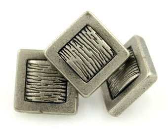 Metal Buttons - Lines Metal Buttons , Nickel Silver Color , Square , Shank , 0.39 inch , 10 pcs