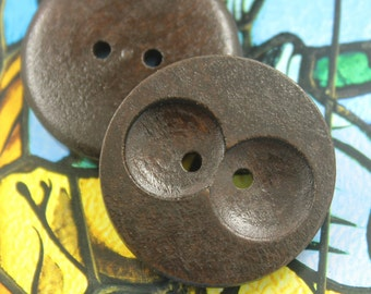 Wooden Buttons - Wide Holes design Brown Wooden Buttons, 1.38 inch (6 in a set)