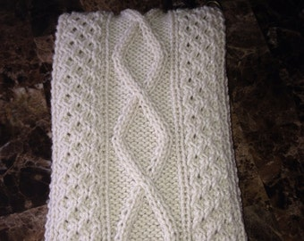 Men's hand knitted scarf, gorgeous cable knit, off white color, wool blend scarf natural oof white  color