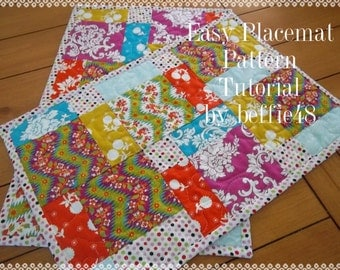 PATTERN, Place Mat Tutorial, Easy to Make, pdf.