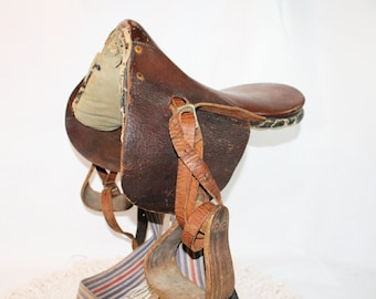 Vintage Childs Horse Saddle, Childs English Pony Saddle, Childs Goat Saddle