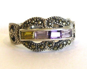 Vintage Ring Jeweled Amethyst & Marcasite Sterling Silver Ring size 9