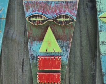 COSMO, Wood Sculpture,Tiki Mask, Primitive Wall Hanging, Tiki Man, Rustic Beach House, Tiki Bar