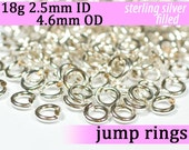18g 2.5mm ID 4.6mm OD silver filled jump rings -- 18g2.50 open jumprings jewelry supplies findings links