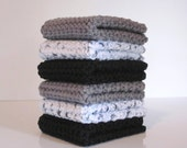 Crochet Wash Cloths,  Dish Cloths, Set of Six Washcloths