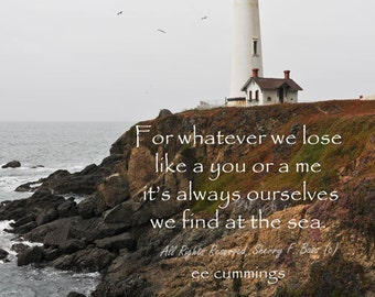 QUOTE PRINT, Inspirational Quote, Wall Art, Lighthouse with quote