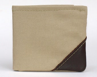 mens wallet army green small bi fold wallet canvas with genuine leather dark brown corners