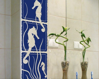 Large Seahorse and Seaweed Wall Decal Art: 3 Panel Under the Sea Marine Life Scene with Silhouettes, Beach Decor, Navy
