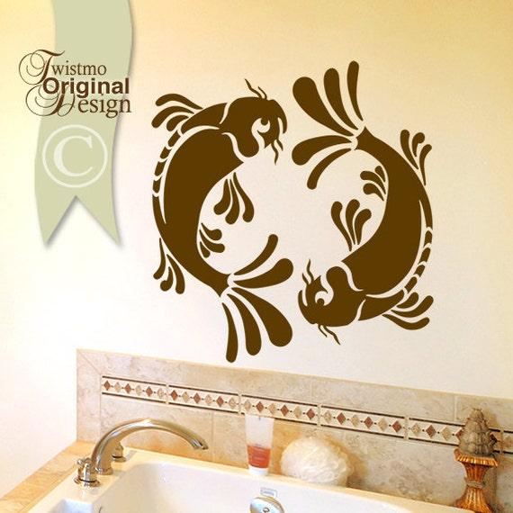 Koi Wall Decal - Pisces Yin Yang Wall Decal, Koi Fish Art, Asian Wall Decal Art, Asian Decor, Bathroom Wall Decal