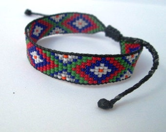 Huichol Native American Inspired Multi-Colored, Beaded Friendship Bracelet 101