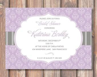 Sophisticated Purple and Gray Printable Bridal Shower Invitation Florence Elegant Lavender Damask Baby Shower Invitation Lace Baby Girl