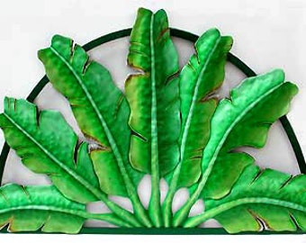 """Metal Wall Hanging -  Traveler's Palm Tree Leaves - Outdoor Garden Decor - Painted Metal Wall Art - Tropical Plant Design 25"""" x 40"""" - K-7350"""