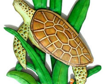 "Metal Art Turtle - Painted Metal, Turtle Metal Wall Hanging - Metal Wall Art - Metal Wall Decor, Garden Art, Garden Decor, 11"" x 20"" - K-174"