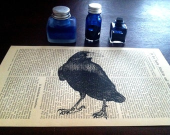 Raven Medium Art Print on an Antique 1896 Dictionary Book Page
