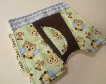 """Pee Wee Tinkle Towel Boxer / Diaper Change Accessory /  Boy Baby Shower Gift / diaper bag changing pee pad / """"Sweet Plaid Owls"""""""