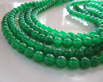 6mm JADE Beads in Kelly Green, Dyed, Round, 1 Strand, Approx 64 Beads
