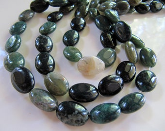 Indian AGATE Beads, 1 Strand, Oval, 27 Beads, 10mm x 14mm, Green, Brown, Teal, Smooth Gemstones