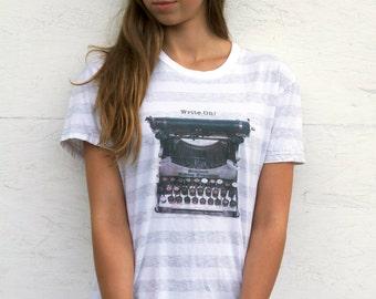 """Typewriter Art Striped T-shirt """"Write On!"""""""