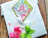 Kite Monogram Appliqué Shirt -Girls Clothes - Personalized Monogram Initial Shirt - Custom Appliqué - Summer Shirt - Custom Embroidery
