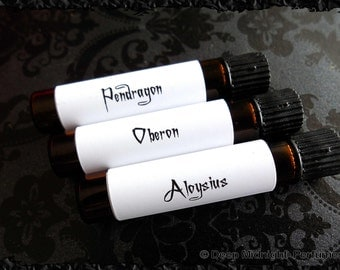 The Gentlemen's Perfume Sample Set: Set of 3 vials, Valentine's Day, Gothic Perfume, Mens Fragrance