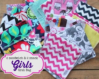 Reusable Snack and Sandwich Bag Bundle - Girls Grab Bag set - Free Shipping