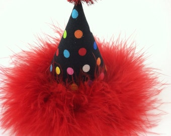 Dog Birthday Hat, Cat Birthday Hat, Multicolor Polka Dot Party Hat