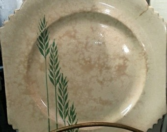 Leigh Ware Green Wheat Ironstone Square Plate
