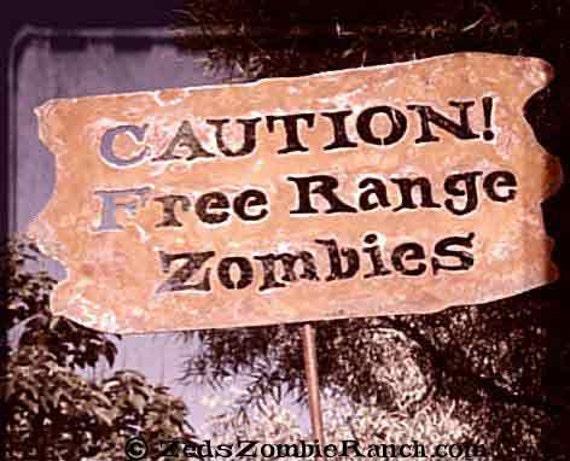 Caution, Free Range Zombies Metal Garden or Yard Sign