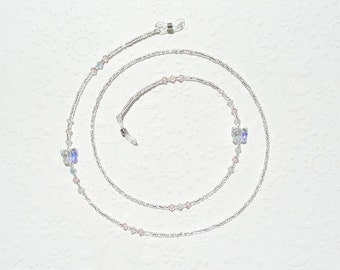 Clear Eyeglass Chain - Crystal Butterfly, Swarovski Crystal and Silver