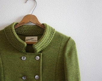 60s vintage mod chartreuse sweater peacoat