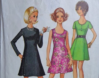 70s A Line Flared Princess Seams Dress Pattern Simplicity 8887 Bust 34 Mad Men