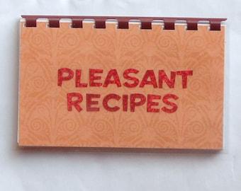 "Handmade ""Pleasant Recipes"" Blank Recipe book"