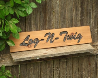 CUSTOM Font  wood  sign -- hand carved  natural finish-- rustic un painted -- your name or numbers on reclaimed western cedar