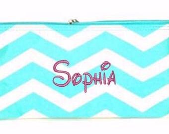 Personalized Cosmetic Case or Pencil Pouch Aqua & White Chevron Print