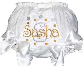 Personalized Silver & Gold Dots Christening Baby Girl  Bloomers, Diaper Cover