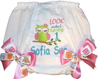 Personalized  Birthday Baby Girl Diaper Cover Bloomers Owl Double Bows