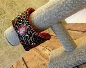 St. Louis Cardinals Cheetah Basebal Bracelet Cuff