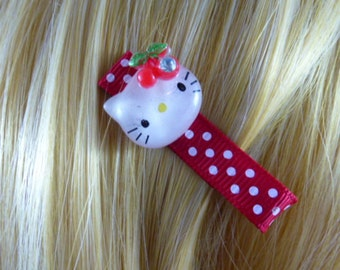 NEW - Kitty Sparkle and Polka Dots Hair Clips - Hairclip, Hair Bow, Hairbow, Hair Accessory