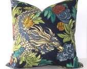 Both Sides - Ming Dragon Pillow Covers - Admiral - Indigo - Sky Blue - Orange - Yellow - Leaf and Emerald Green